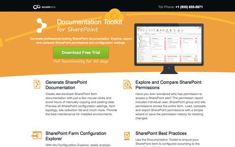 Screenshot of Landing Page spdockit.com - Documentation Toolkit for SharePoint - Document SharePoint Farm - captured Oct. 27, 2014