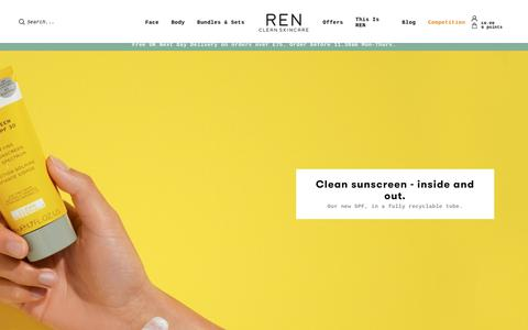 Screenshot of Home Page renskincare.com - Get 20% Off Your First Order | REN Clean Skincare - captured May 10, 2019
