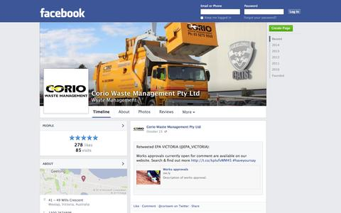 Screenshot of Facebook Page facebook.com - Corio Waste Management Pty Ltd - Moolap, Victoria, Australia - Waste Management | Facebook - captured Oct. 25, 2014