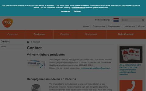 Screenshot of Contact Page gsk.com - Contact | GSK NL - captured Oct. 21, 2018