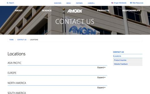 Screenshot of Locations Page amgen.com - Locations | Amgen - captured Nov. 6, 2015