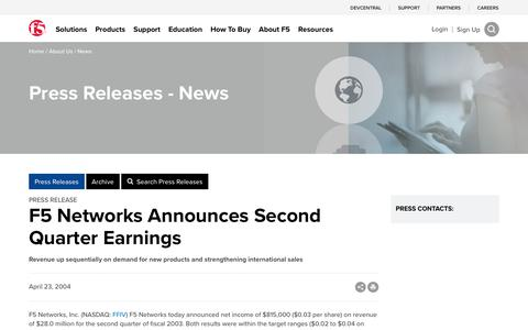 Screenshot of Press Page f5.com - F5 Networks Announces Second Quarter Earnings - captured March 8, 2018