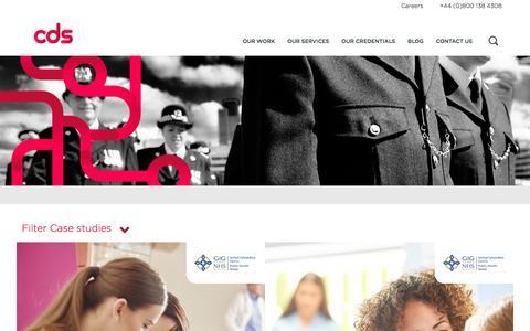 Screenshot of Case Studies Page cds.co.uk - Our work | CDS - captured Sept. 25, 2018