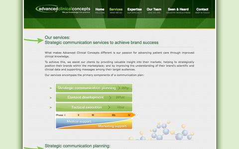 Screenshot of Services Page advancedclinical.net - Advanced Clinical Concepts LLC - captured Oct. 4, 2014