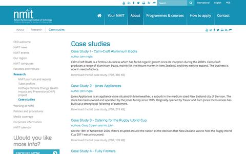 Screenshot of Case Studies Page nmit.ac.nz - Case studies | NMIT - captured Oct. 26, 2014