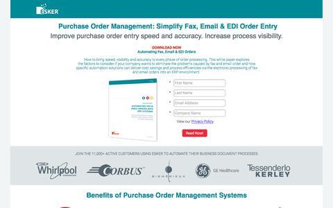 Screenshot of Landing Page esker.com - Purchase Order Management Software   Esker - captured July 20, 2018