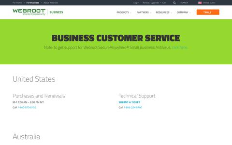Screenshot of Support Page webroot.com - Official Business Support Contact Information | Webroot - captured Feb. 16, 2018