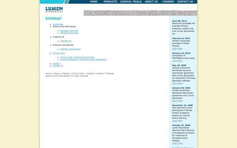 Screenshot of Site Map Page lumenbio.com - Lumen Biomedical - Sitemap - captured Sept. 16, 2014