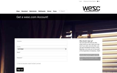 Screenshot of Signup Page wesc.com - WeSC - Join the Conspiracy! - captured Sept. 19, 2014