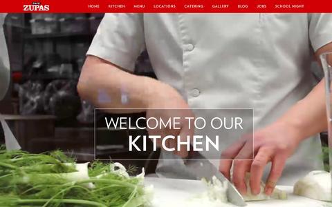 Screenshot of Home Page cafezupas.com - Home - Cafe Zupas - captured Feb. 8, 2016