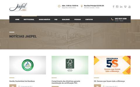 Screenshot of Blog jaepel.com.br - Notícias Jaepel - Jaepel Papeis e Embalagens - captured Dec. 20, 2018
