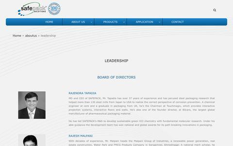 Screenshot of Team Page safepack.com - leadership - safepack - captured Nov. 12, 2018