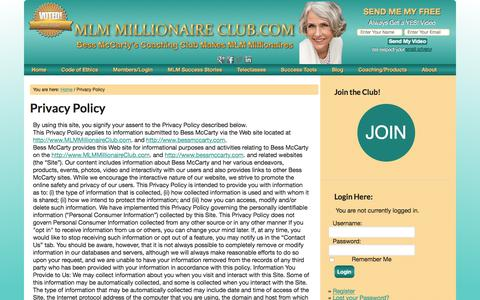 Screenshot of Privacy Page mlmmillionaireclub.com - Privacy Policy — Bess McCarty's Coaching Club makes MLM Millionaires - captured July 25, 2018