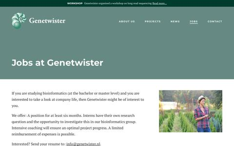 Screenshot of Jobs Page genetwister.nl - Jobs - Genetwister Technologies B.V. - captured Sept. 27, 2018