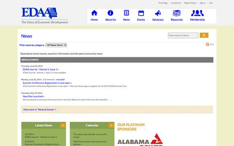 Screenshot of Press Page edaa.org - News - Economic Development Association of Alabama - captured Oct. 1, 2014