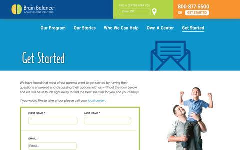 Screenshot of Contact Page brainbalancecenters.com - Get Started - Brain Balance Achievement Centers - captured Aug. 19, 2017