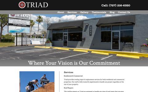Screenshot of Services Page asktriad.com - Services - Triad - captured Nov. 15, 2018