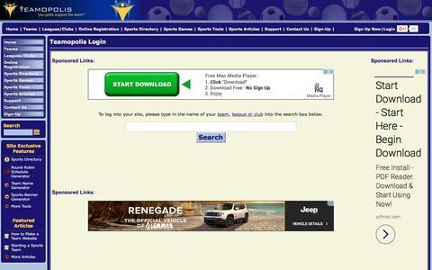 Screenshot of Login Page teamopolis.com - League and team website login - Teamopolis.com - captured June 29, 2017