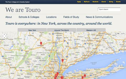 Screenshot of Locations Page touro.edu - The Touro College and University System: Locations - captured Sept. 24, 2014