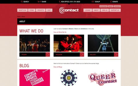 Screenshot of About Page contactmcr.com - Contact, Manchester - captured Oct. 2, 2014