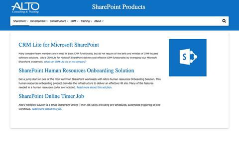 Screenshot of Products Page altoconsulting.com - SharePoint Products | Alto  	Constulting & Training - captured Oct. 8, 2017