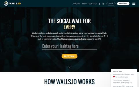 Screenshot of Home Page walls.io - The Social Wall for Everyone —Walls.io - captured Oct. 12, 2016