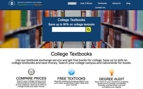 Screenshot of Home Page studentbooktrades.com - Textbooks | College Textbooks | Used Textbooks | Cheap Textbooks | Trade Textbooks - captured Aug. 15, 2015