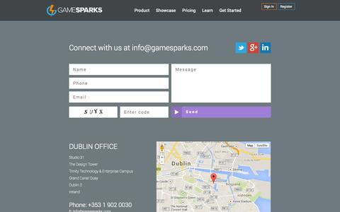 Screenshot of Contact Page gamesparks.com - Contact | Game Sparks - captured Oct. 30, 2014