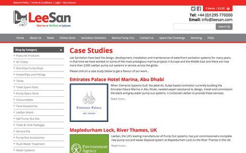 Screenshot of Case Studies Page leesan.com - LeeSan Marine Sanitation - captured July 31, 2017