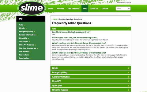 Screenshot of FAQ Page slime.com - Frequently Asked Questions | Slime - captured Oct. 31, 2014