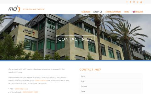 Screenshot of Contact Page md7.com - Contact Us - Md7 - captured May 19, 2019
