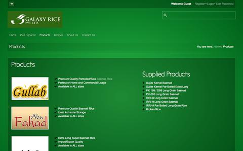 Screenshot of Products Page galaxyrice.com - Galaxy Rice  |  Products - captured Sept. 24, 2018