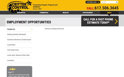 Screenshot of Jobs Page crittercontrol.com - Boston Critter Control of Boston Employment Opportunities - captured Nov. 22, 2016
