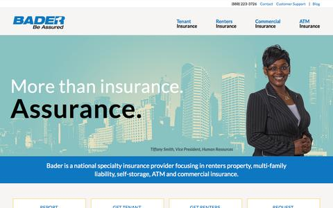 Screenshot of Home Page baderco.com - Bader Company | Self-Storage, Multi-Family, ATM and Commercial Insurance - captured Jan. 27, 2015