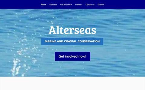 Screenshot of Home Page alterseas.com - Alterseas | Marine and Coastal Conservation - captured Sept. 30, 2014