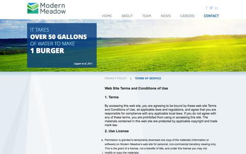 Screenshot of Terms Page modernmeadow.com - Modern Meadow - captured Sept. 19, 2014