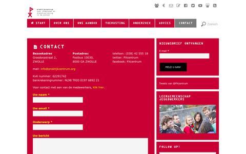 Screenshot of Contact Page praktijkcentrum.org - CONTACT - captured Jan. 27, 2016