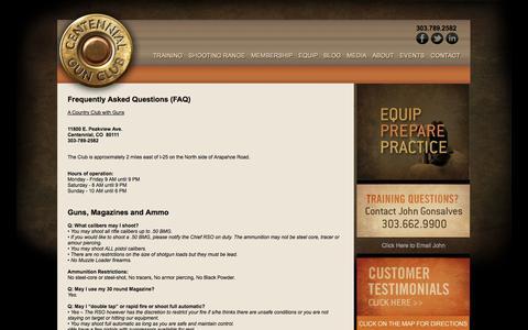 Screenshot of FAQ Page centennialgunclub.com - Centennial Gun Club :: FAQ's - captured Sept. 29, 2014