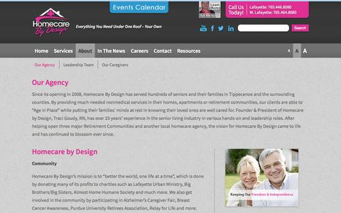 Screenshot of About Page homecarebydesign.com - Our Agency | Home Care & Personal Service Agency | Care At Home | Homecare by Design | West Lafayette - captured Sept. 30, 2014