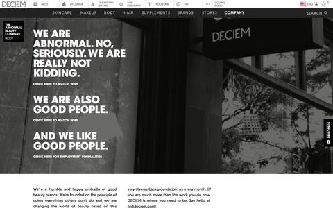 Screenshot of About Page deciem.com - DECIEM | Company - captured July 15, 2019