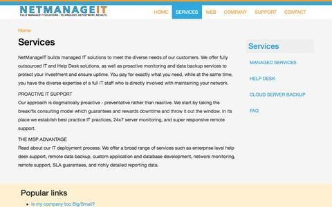 Screenshot of Services Page netmanageit.com - Services | NetManageIT - captured Feb. 26, 2016