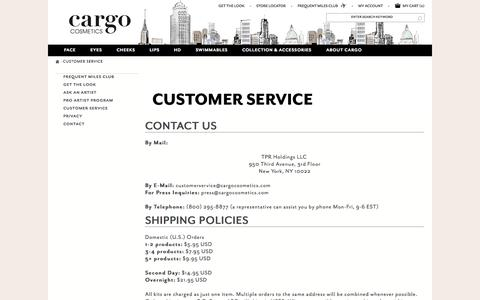 Screenshot of Support Page cargocosmetics.com - Customer Service - captured Sept. 26, 2014