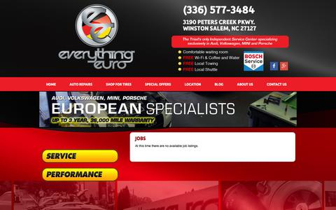 Screenshot of Jobs Page everythingeuro.com - Tires Auto Repairs Jobs Winston Salem, NC High Point, NC Kernersville, NC   Everything Euro - captured Dec. 12, 2015