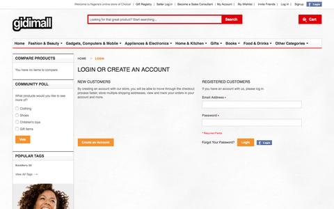 Screenshot of Login Page gidimall.com - Online Shopping | Phones, Fashion, Electronics, Gifts| Customer Login Online Shopping | Phones, Fashion, Electronics, Gifts| - captured Jan. 28, 2016