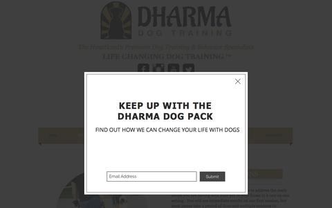 Screenshot of Services Page dharmadogtraining.com - Dharma Dog Training Services - captured Aug. 6, 2018