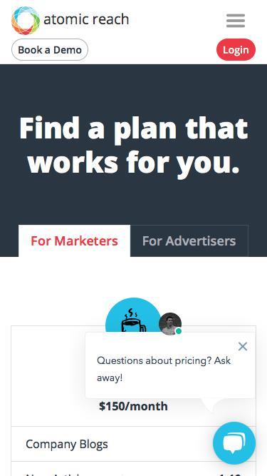 Screenshot of Pricing Page  atomicreach.com - Pricing - Atomic Reach