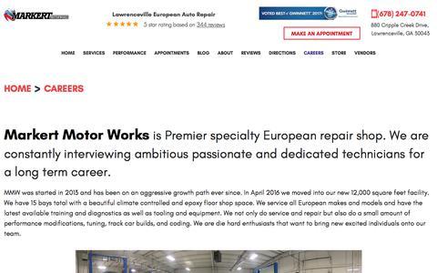 Screenshot of Jobs Page markertmotorworks.com - Careers - Markert Motor Works - captured Sept. 20, 2018
