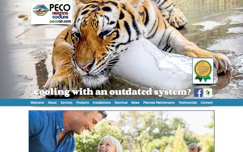 Screenshot of Home Page pecoair.com - PECO Heating & Cooling | Central, SC - captured Oct. 3, 2016