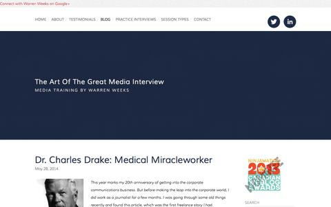 Screenshot of Blog mediatrainingtoronto.com - The Art of the Great Media Interview - captured Oct. 6, 2014