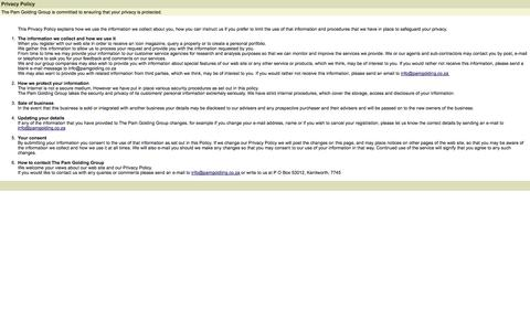 Screenshot of Privacy Page pamgolding.co.za - Privacy Policy - captured Sept. 22, 2014